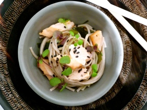 Salmon with Wakame Soba Noodles and Ponzu-Miso Dressing