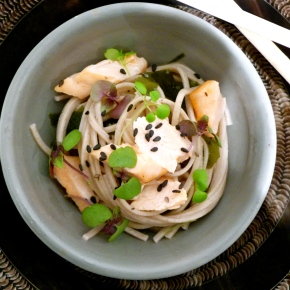 Salmon with Wakame Soba Noodles and Ponzu-MisoDressing