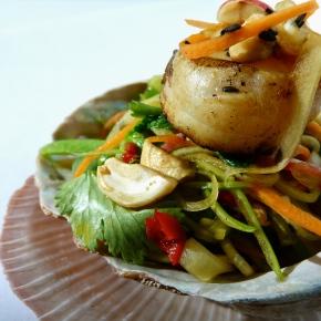 Green Papaya Salad with Pan-RoastedScallops