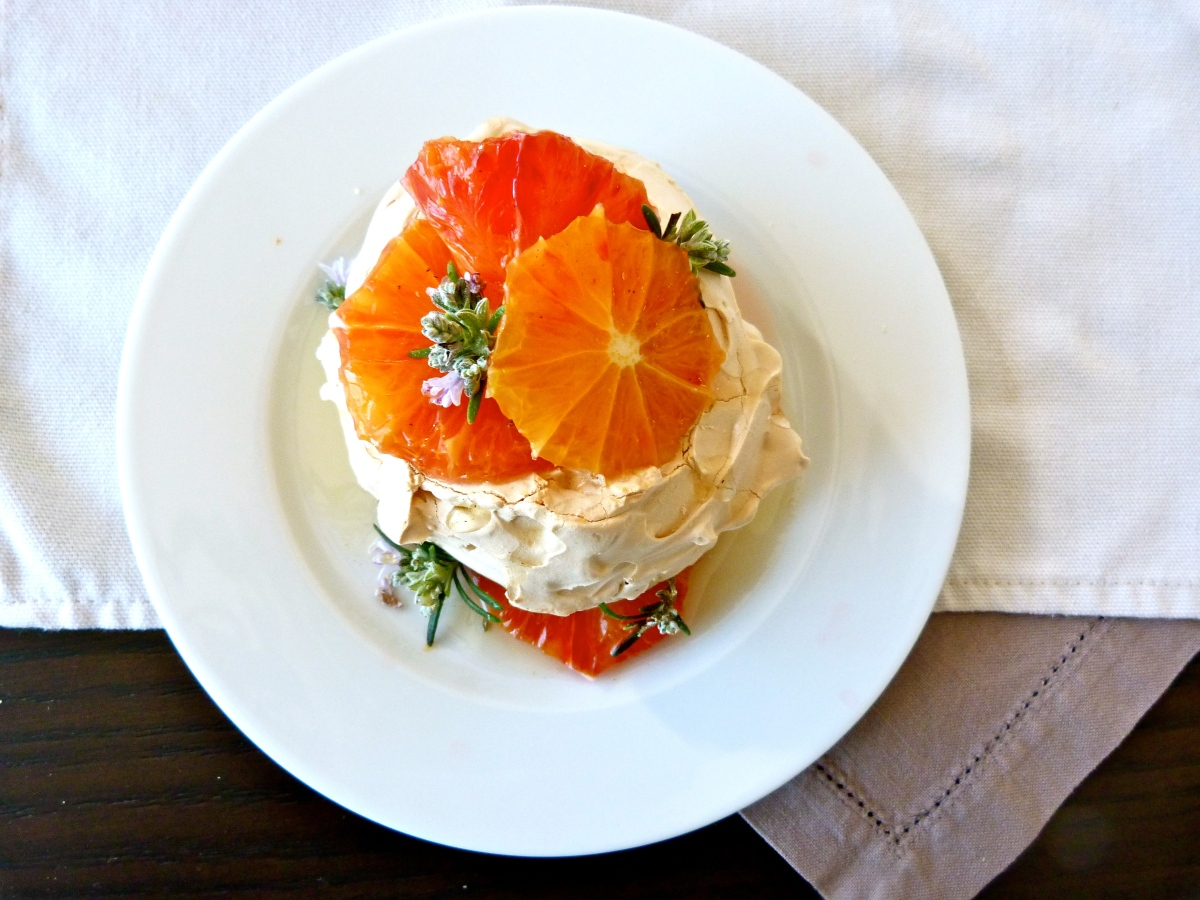 Little Pavlovas with Rosemary Infused Honey and Blood Orange