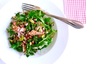 Blushing Spring Salad with Smoked Trout, Quinoa and Pomegranate