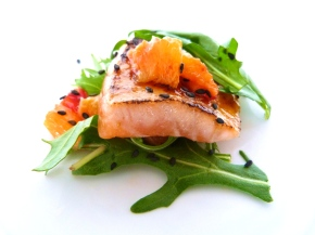 Sugar-crusted Salmon with Citrus and Sesame Salad