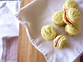 Pistachio Macarons with Strawberry Mascarpone Cream