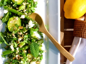 Minty-Green Quinoa with Asparagus, Peas and Goat's Cheese