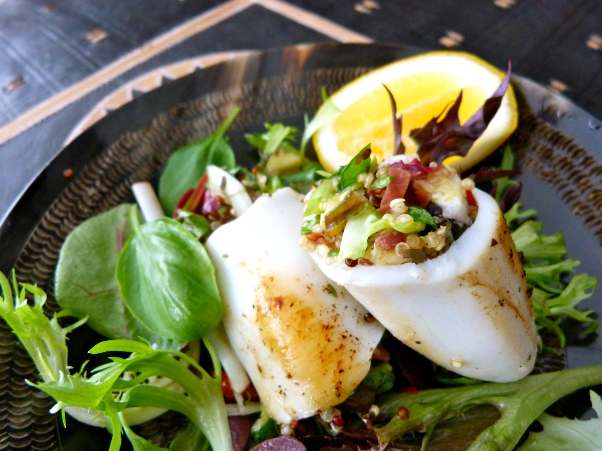 Calamari with Herb and Chilli-spiked Quinoa Stuffing