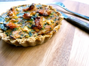 Spinach and Pumpkin Quiche with a Sesame and Wholewheat Crust