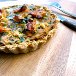 Spinach and Pumpkin Quiche with a Sesame and WholewheatCrust