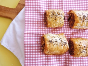 Spiced Lamb Sausage Rolls with Harissa, Currents and Pinenuts