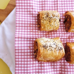 Spiced Lamb Sausage Rolls with Harissa, Currents andPinenuts