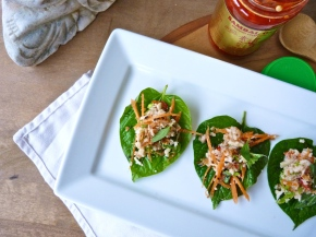 Zesty Crab, Chilli and Kaffir Lime on Betel Leaves