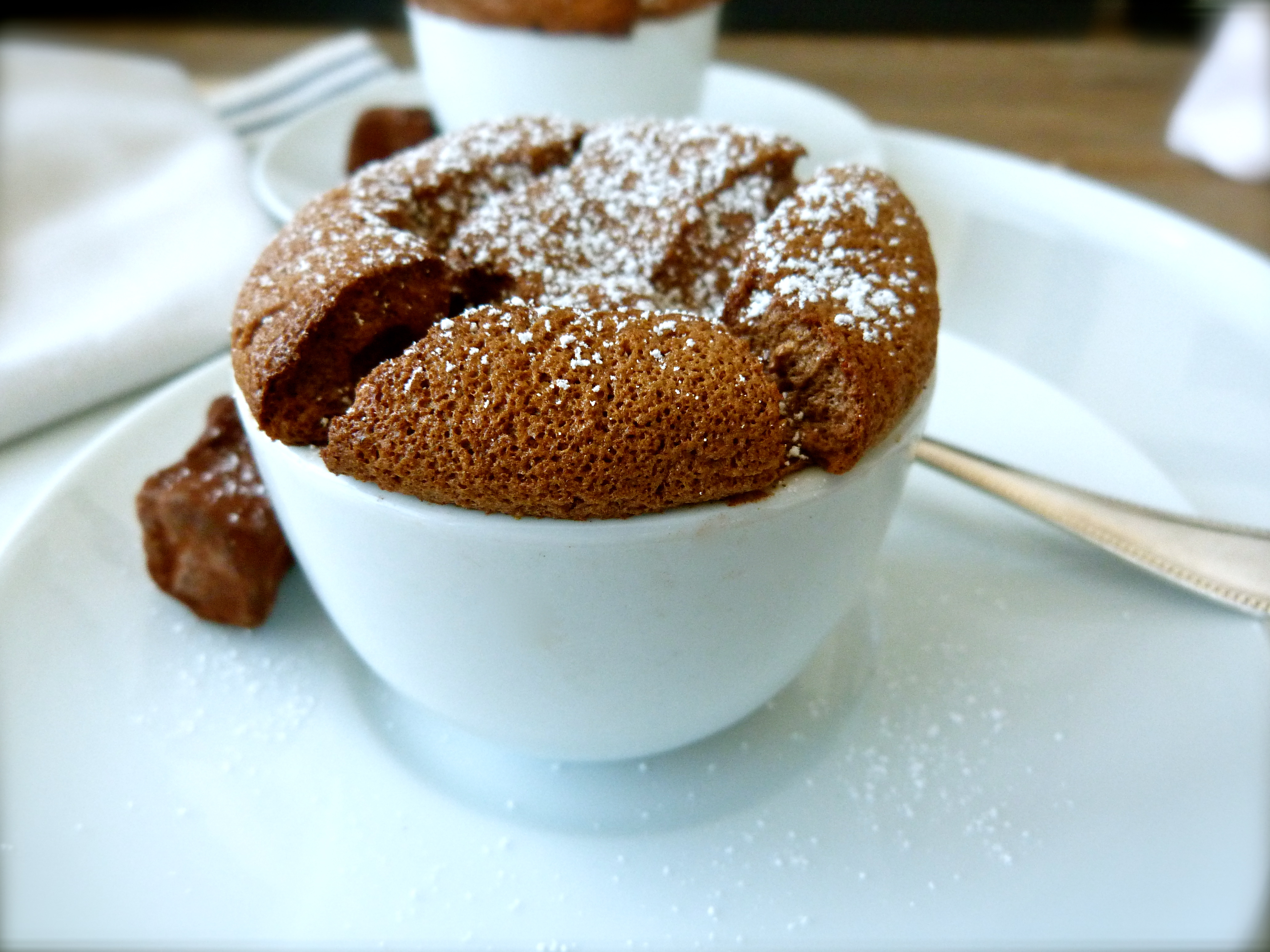 Individual Chocolate and Caramel Soufflés | Finger, Fork & Knife