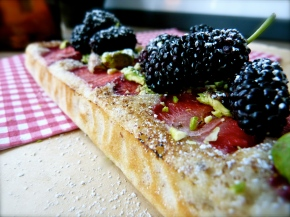 Whisper-light Strawberry, Pistachio and White Chocolate Frangipane Slice