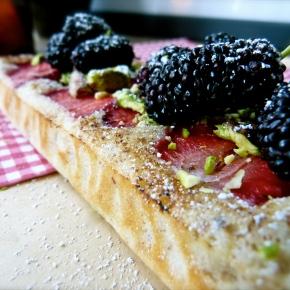 Whisper-light Strawberry, Pistachio and White Chocolate FrangipaneSlice