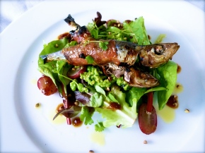 Grilled Sardines with Fig-glazed Jamon and Fresh Pea Remoulade