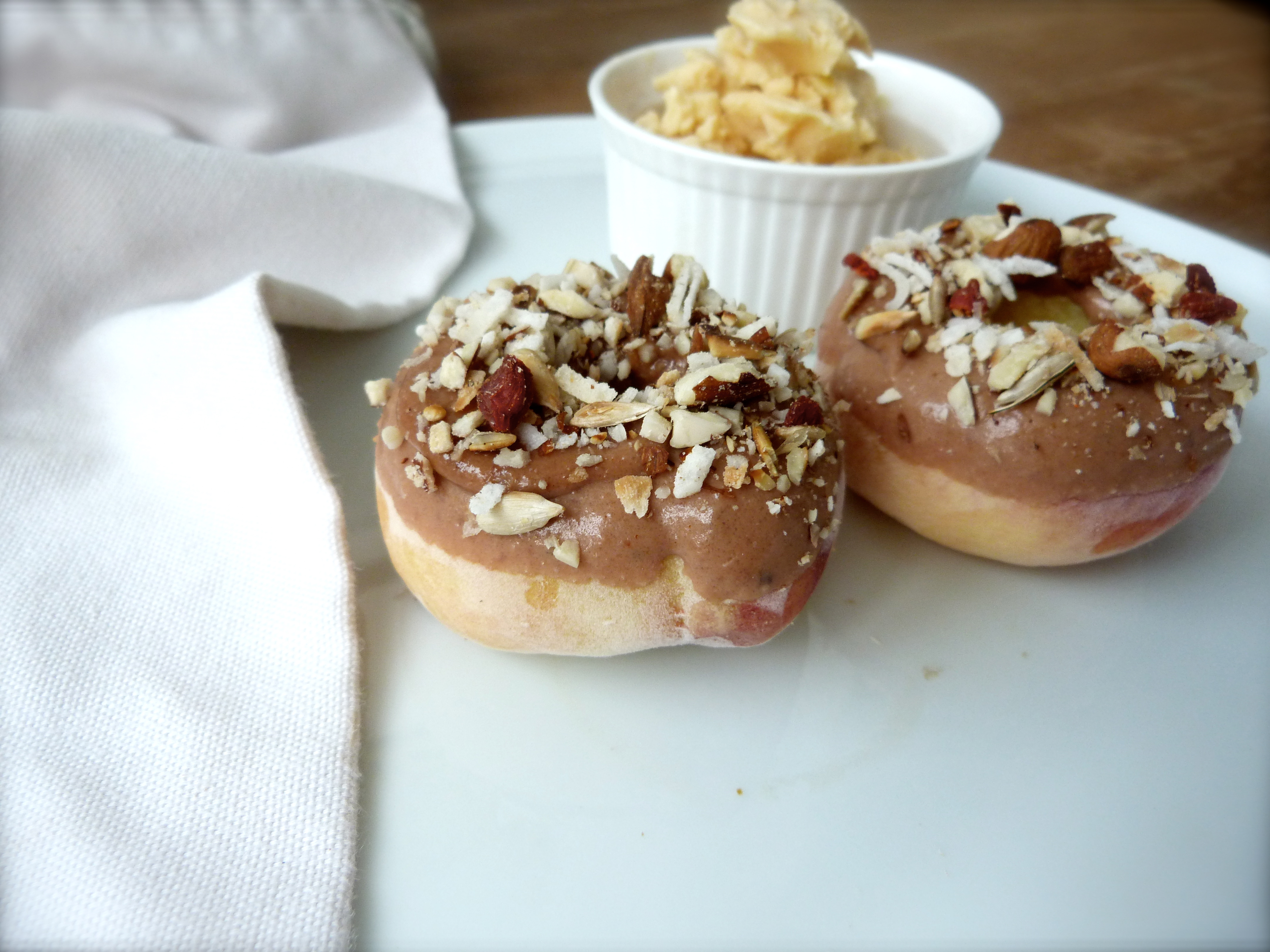 Peach Donuts with Toasty Almond and Coconut Glaze   Finger, Fork ...