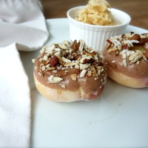 Peach Donuts with Toasty Almond and CoconutGlaze