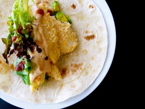 Soft Tacos with Panko Crusted Chicken & Fragrant Avocado Salsa