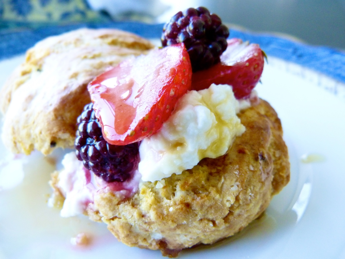 Passionfruit Scones with Ricotta and Vanilla Roasted Berries