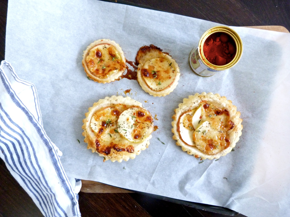 Apple and Manchego Tarts with Thyme & Honey Glaze