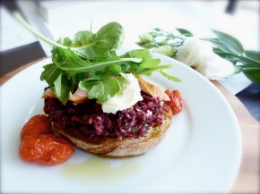 Beetroot Pesto and Goats Curd Bruschetta