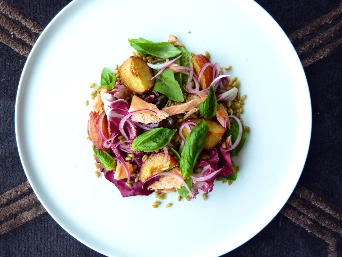 Hot-Smoked Salmon, Roast Plum and Grain Salad