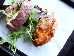Sea Salt Baked Sweet Potatoes (Purple +Gold)