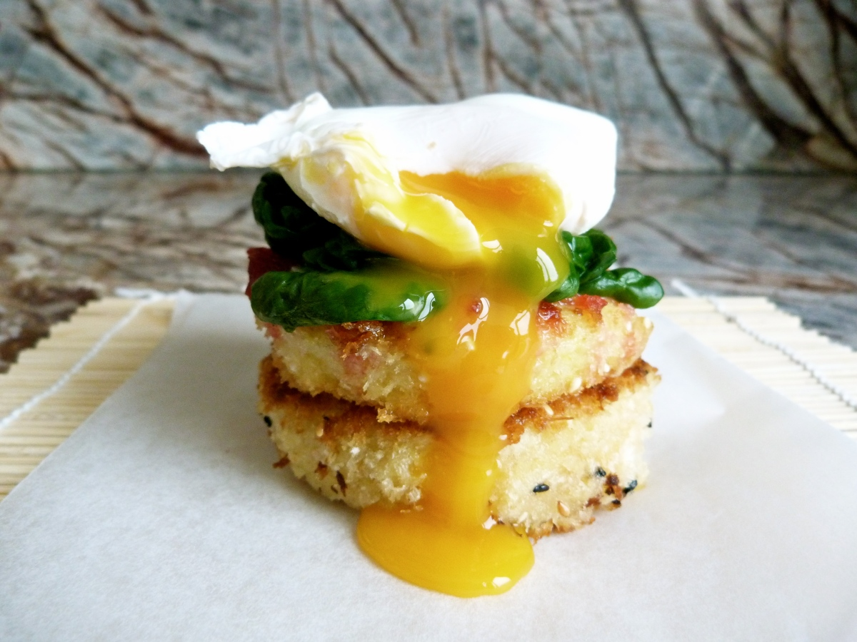 Polenta Patties with Poached Egg + Beetroot Relish