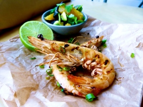 Grilled Chilli Soy Prawns + Avocado Citrus Salad