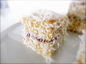 Raspberry + White Chocolate Lamingtons