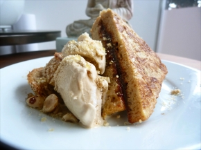 Chocolate + Hazelnut Praline French Toast w/ Coffee Icecream