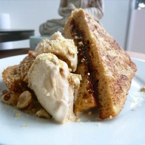Chocolate + Hazelnut Praline French Toast w/ CoffeeIcecream