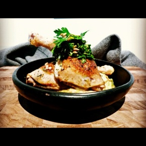 Herb Roasted Chicken with Cauliflower, Parsnip Mash + Lemon Caper Gremolata