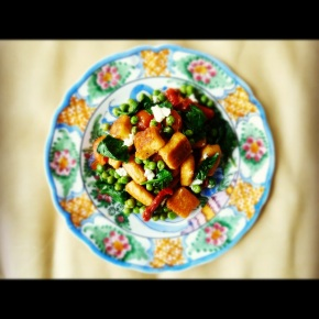 Crispy, Golden Sweet Potato & Ricotta Gnocchi with Peas & Blistered Tomatoes