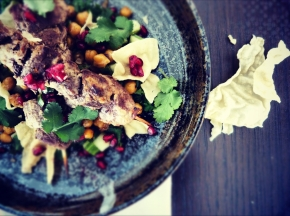Yoghurt-Spiced Kangaroo Kebabs with Chana Chaat