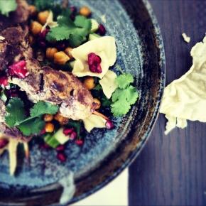 Yoghurt-Spiced Kangaroo Kebabs with ChanaChaat