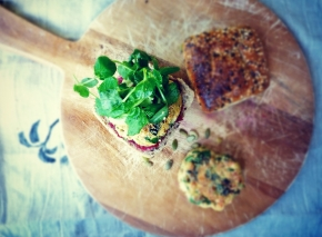 Seed-Flecked Salmon + Spinach Burgers with Cucumber + Snow Pea Shoots