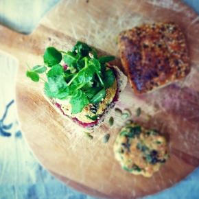 Seed-Flecked Salmon + Spinach Burgers with Cucumber + Snow PeaShoots