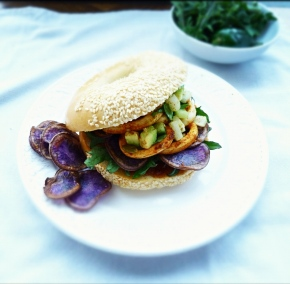 Spiced Calamari, Kale + Purple Potato Chip Bagel with Jicama Salsa + Chipotle Mayo
