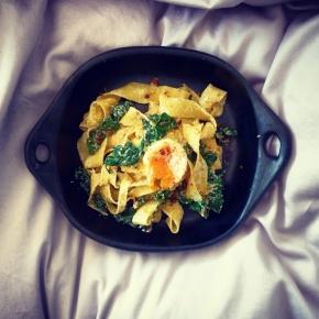 Lemon Ricotta + Swiss Chard Pappadelle with Oozy CrumbedEgg