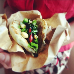 Spring Onion Pancakes with Buddha BellyBeans