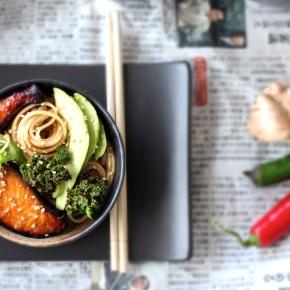 Udon Noodle Bowl with Miso-Honey Glazed Salmon, Avocado + CrispyKale