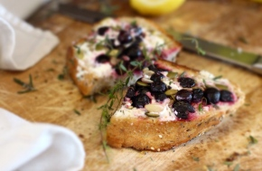 Blueberry, Goat's Cheese + Garden Herb Panini