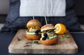 Beach Bum Sliders – Prawn + Coconut Patties with Caramalised Pineapple + Minty Avocado Mayo