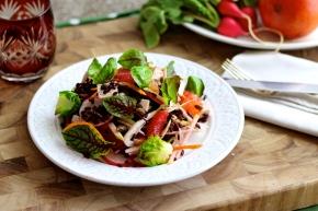 Forbidden Rice Salad with Spring Vegies, Green Apple, Blood Orange +Tofu