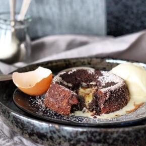 Kate's Crème Egg – Salted Chocolate Fondant with Crème Filling + FlamingCognac
