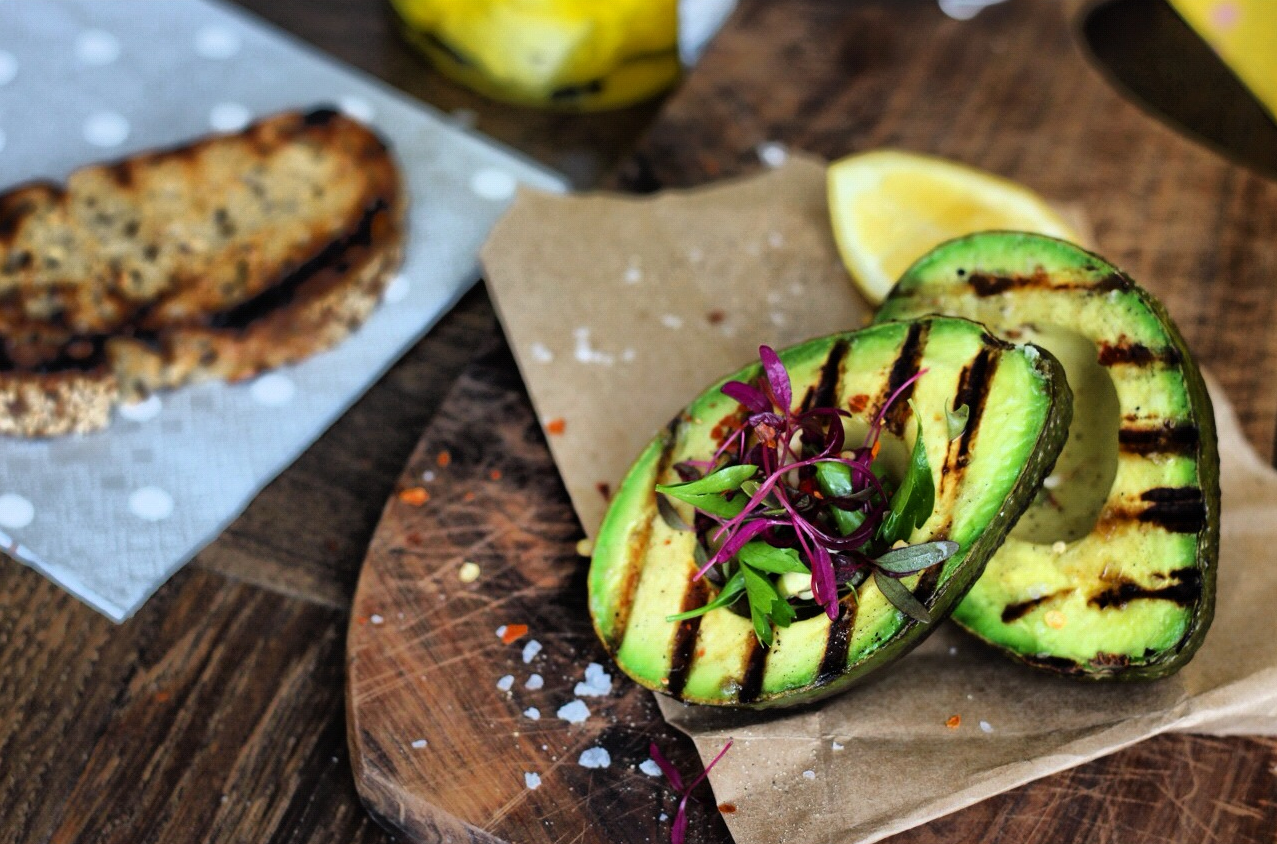 Grilled Avocado + Sprouted Micro Salad | Finger, Fork & Knife