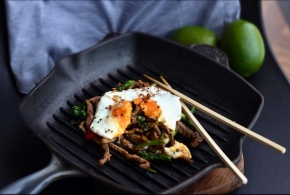 Lime + Coriander Sticky Beef Hash with Sunny Side Egg