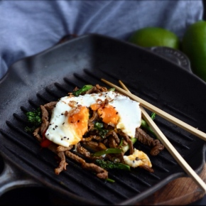 Lime + Coriander Sticky Beef Hash with Sunny SideEgg