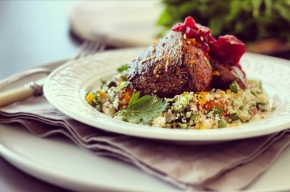 Seared Orange Pepper Kangaroo Fillet with Spring Couscous
