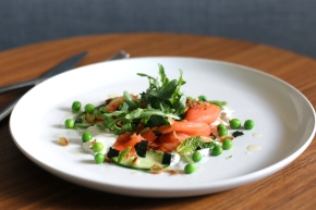 Cold Smoked Ocean Trout + Peas with Minty Crème Fraiche
